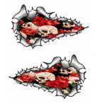 Long Pair Ripped Torn Metal Design With Tattoo Style Skull & Roses Motif External Vinyl Car Sticker 120x70mm each